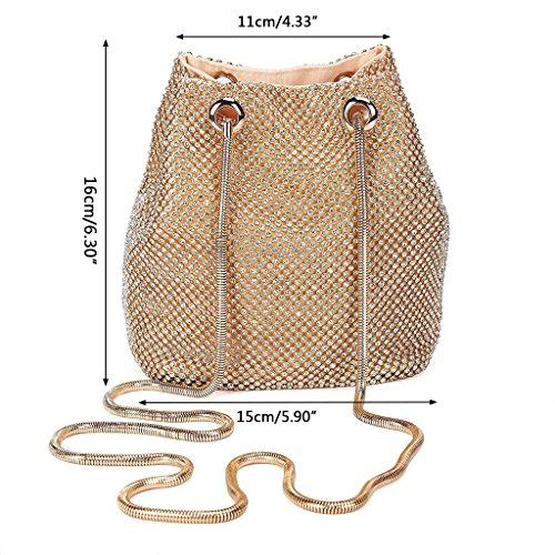 Wedding Women's Rhinestone LoXTong Silver Bag Shoulder Handbag Clutch Bridal Prom Evening Party 8nSq1UTw