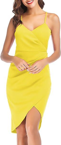 Vestidos Verano Mujer Party Cortos Color Sólido Fashion V Cuello ...