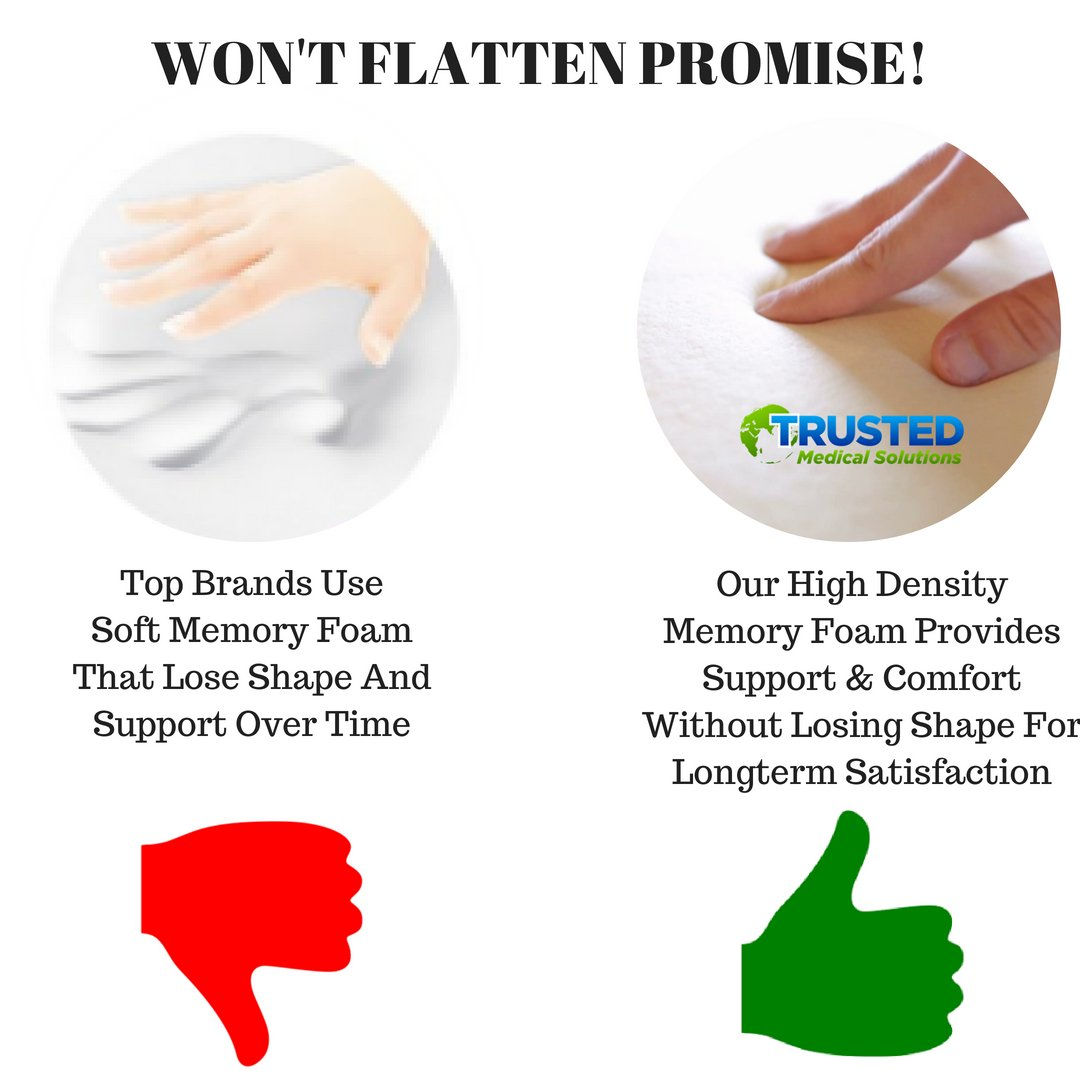 Trusted XL Back Lumbar Support Pillow - ★ Won't Flatten 100% Pure Memory Foam ★ - Posture Cushion Pain Relief for Office, Car, Home, Travel - Removable Attach Anywhere Extendable Straps (Black) by Trusted Medical Solutions (Image #6)