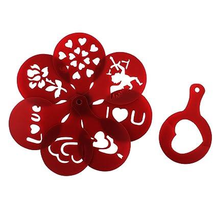sourcing map Molde Rojo Oscuro 8 En 1 con Impresión Artística De Café De Plástico De