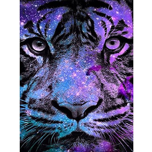 Diamond Painting Aitmexcn 5D DIY Full Drill Kit Rhinestone Crystal Embroidery Pictures Cross Stitch for Home Wall Decoration Animal Tiger 9.8×13.7 inch