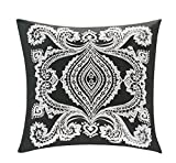 Bourina Euro Pillow Sham Decorative Pillowcase Embroidered Throw Pillow Cover 26''x 26'', Dark Grey