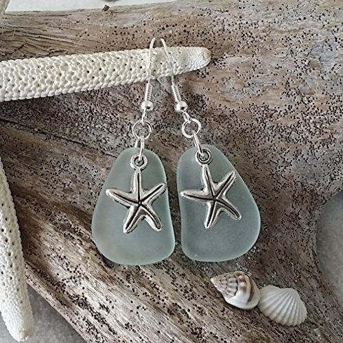Used, Handmade jewelry in Hawaii, seafoam sea glass earrings, for sale  Delivered anywhere in USA