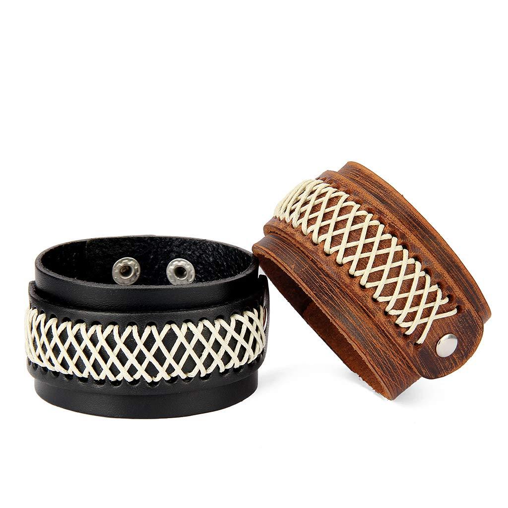 Jenia Leather Bracelet for Men Rope Braided Cuff Bracelet Punk Adjustable Wristband Wrap Bracelet Handmade Jewelry for Boys, Kids, Teens by Jenia (Image #4)