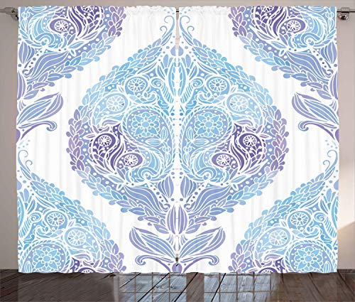 "Ambesonne Eastern Curtains, Traditional Paisley Motifs Pattern Floral Flourishing Ornament Tile Pattern, Living Room Bedroom Window Drapes 2 Panel Set, 108"" X 90"", Blue Purple"