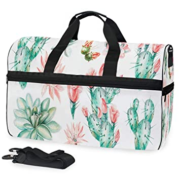 587d65fbe8f898 Amazon.com | Gym Bag Unique Watercolor Products And Cactus Sport ...