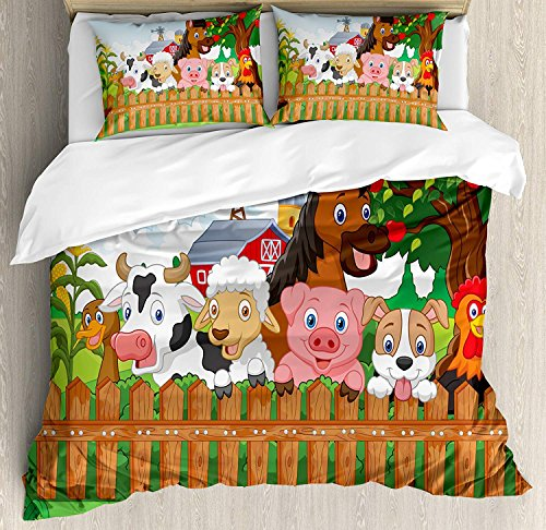 Queen Size Cartoon 3 PCS Duvet Cover Set, Cute Farm Animals on The Fence Comic Mascots with Dog Cow Horse for Kids Decor, Bedding Set Quilt Bedspread for Children/Teens/Adults/Kids, Multi