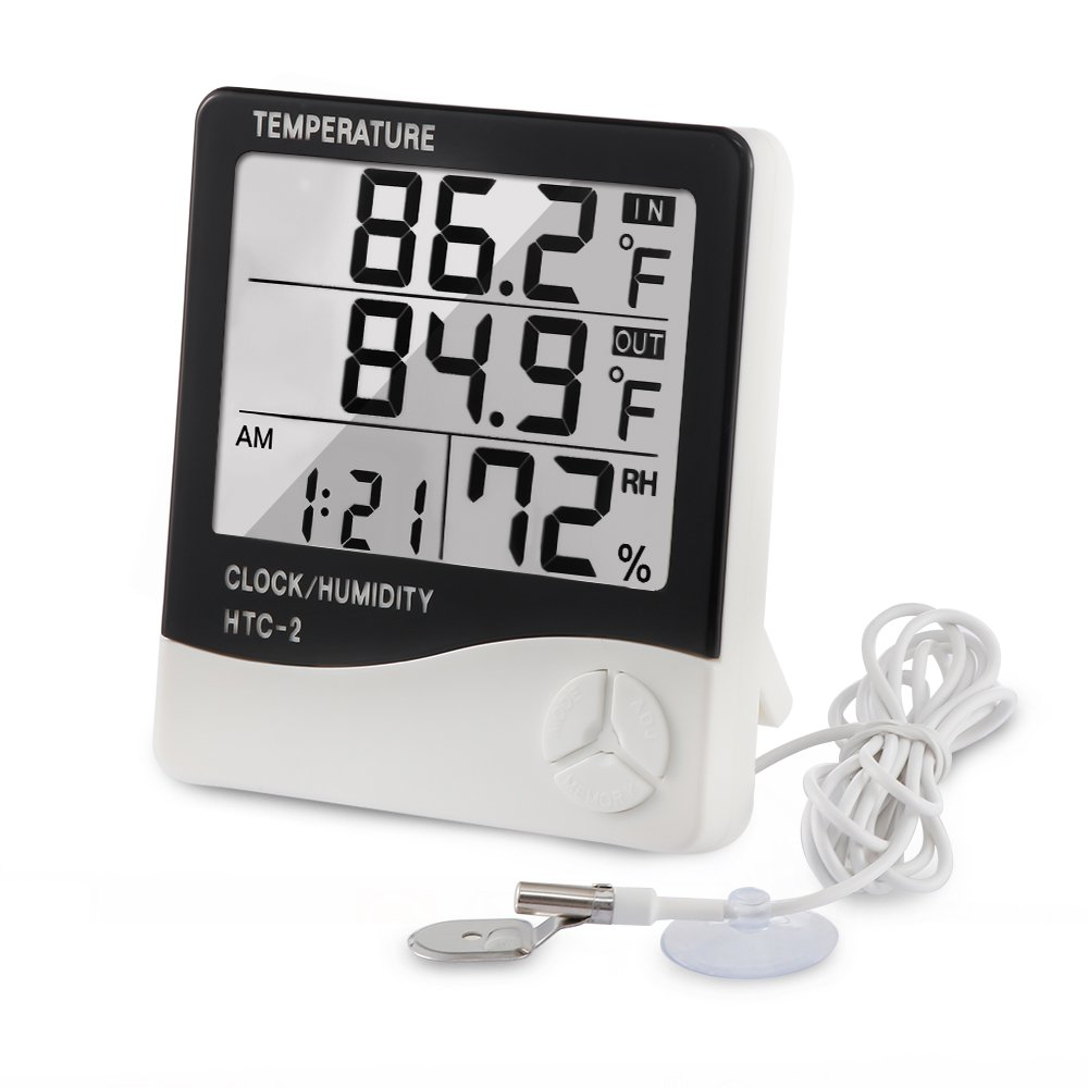 Tsumbay Digital Indoor Outdoor Thermometer Hygrometer, Temperature(Fahrenheit or Celsius) and Humidity Monitor With LCD Screen Alarm Clock, 3m Probe Cord for Bedroom, Home, Office