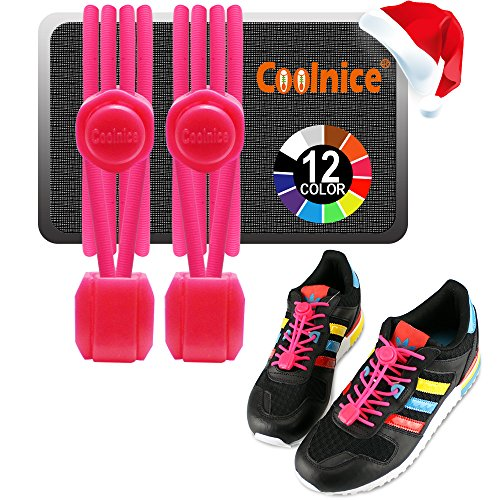 Coolnice Shoe Laces Elastic No Tie Shoelaces with Lock & Silicone Strings Ideal for kids, Men & Women (One Size Fits All) - Waterproof & Durable