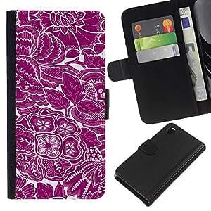 KingStore / Leather Etui en cuir / Sony Xperia Z3 D6603 / Papel pintado floral blanco púrpura florece el arte