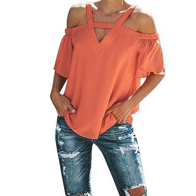detailing professional sale new lifestyle OldSch001® Women Shirt, Women's V Neck Cold Shoulder Short Sleeve Solid  Orange Cotton Tops Blouse (Orange, L)