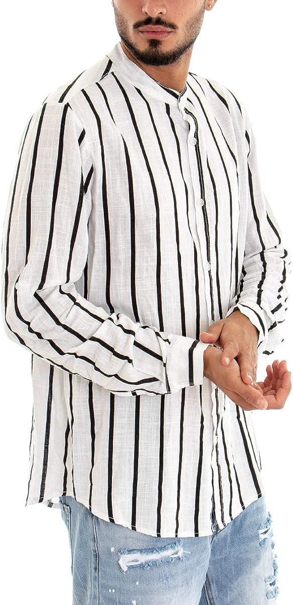 Giosal - Camisa de Hombre de Manga Larga de Lino Blanco con Rayas Negras a Rayas y Cuello Coreano Informal Bianco XL: Amazon.es: Ropa y accesorios
