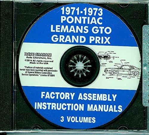 1971, 1972 & 1973 PONTIAC GTO, LEMANS & GRAND PRIX ASSEMBLY INSTRUCTION MANUAL CD - ALL MODELS