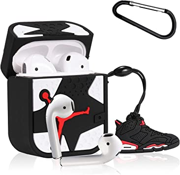 White Flying Shoes Gift-Hero Compatible with Airpods 1/&2 Silicone Cute Case 3D Fun Luxury Funny Cool Designer Kits Character Skin Fashion Stylish Chic Cover for Girls Boys Kids Men Teens Air pods