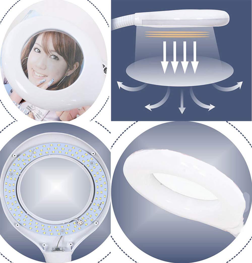 MEIMEIDA 16X Lampada dIngrandimento,Estetica Professionale Regola Liberamente AltezzaLente dIngrandimento Neon Daylight Lampada Lavori di Precisione LED Lampada da Terra,Pink-58W