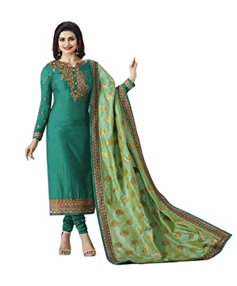 af5662d8a9 Dhruvil impex Women's Embroidered Straight Salwar Suit with Banarasi Silk  Dupatta (Green and Pista,