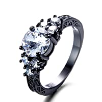 F&F Jewel White Zircon Black Gold Filled Ring Vintage Jewelry for Women Wedding Engagement Rings