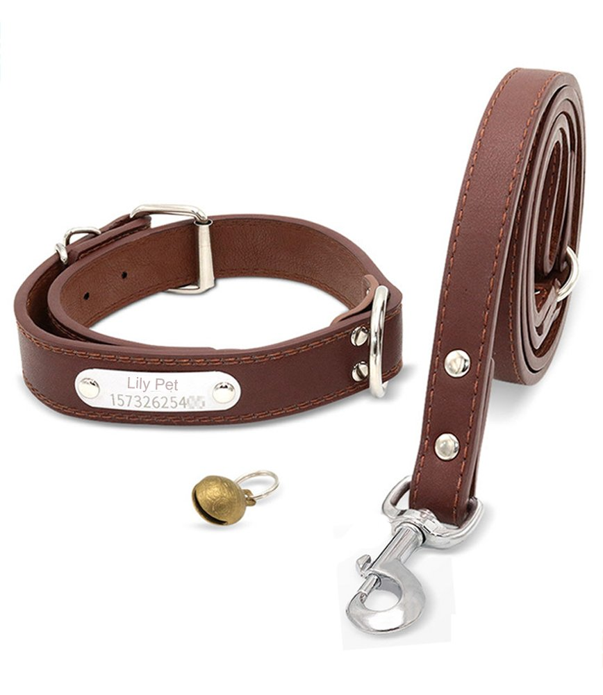 Soft Leather Padded Custom Dog Collar and Leash Set with Personalized Engraved Nameplate,Fit Small Medium Large Dogs (XL(21''-25''), Brown)