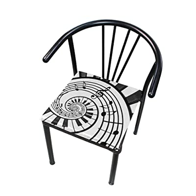 Bardic FICOO Home Patio Chair Cushion Swirl Piano Key Square Cushion Non-Slip Memory Foam Outdoor Seat Cushion, 16x16 Inch: Home & Kitchen