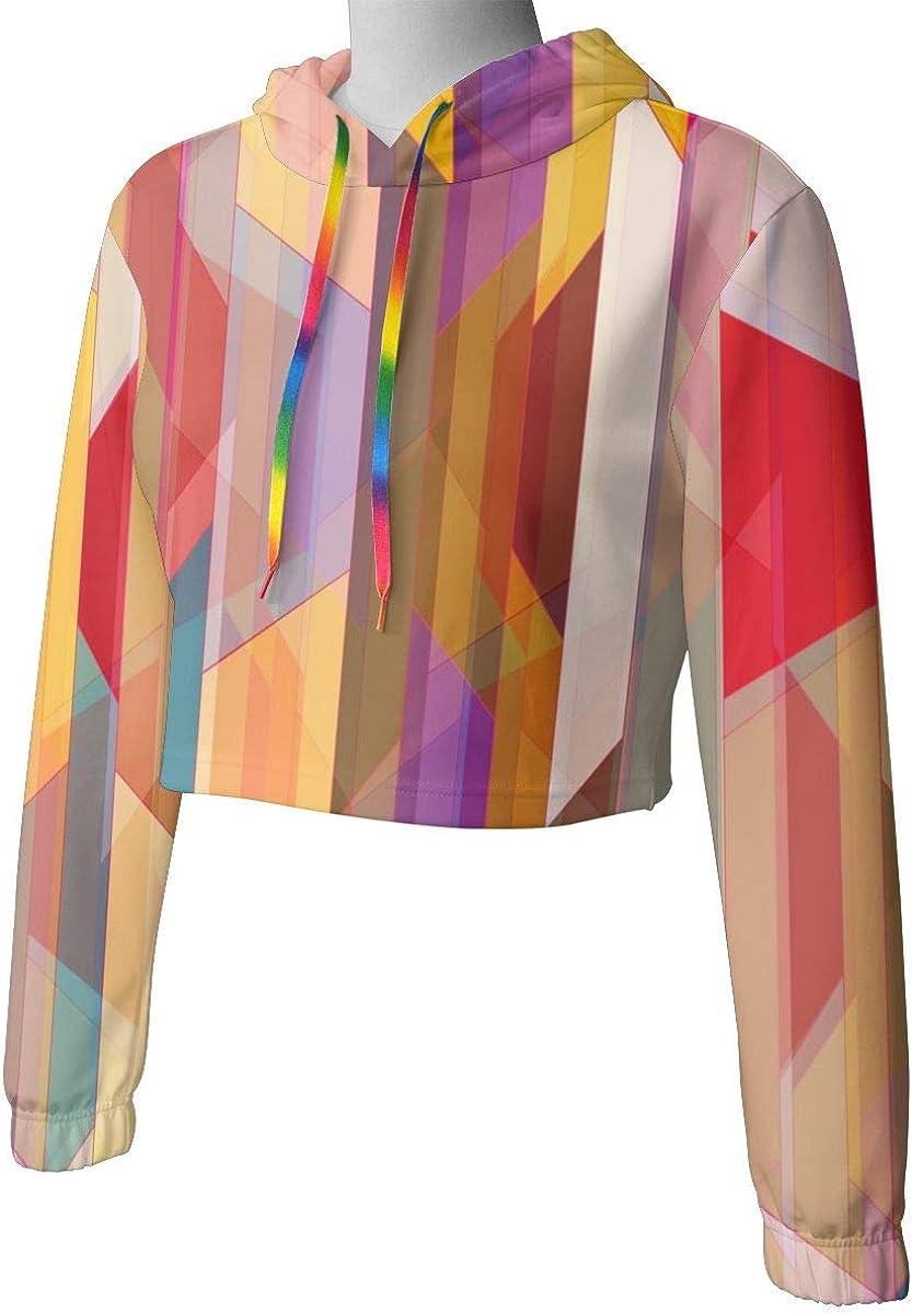Womens Hoodie Sweater Abstract Color Graphics Crop Top Sweatshirt Lumbar Sweatshirt Cropped Hoodie