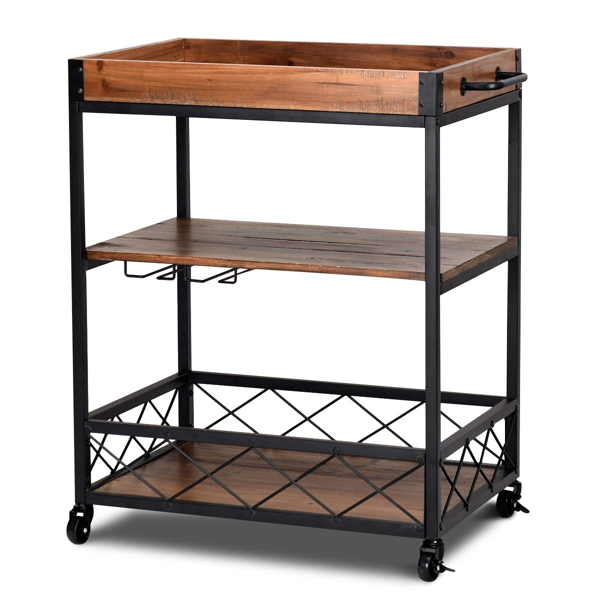 Giantex Kitchen Trolley Cart Island Rolling Serving Carts Utility Cart 3 Tier Storage Shelf with Glass Holde, Handle Racks, Lockable Caster Wheels Kitchen Carts Islands w/Removable Wood Box Container by Giantex (Image #2)