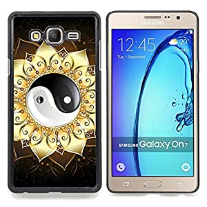 Ying Yang Floral Sign Caja protectora de pl??stico duro Dise?¡Àado King Case For Samsung Galaxy On7 G6000