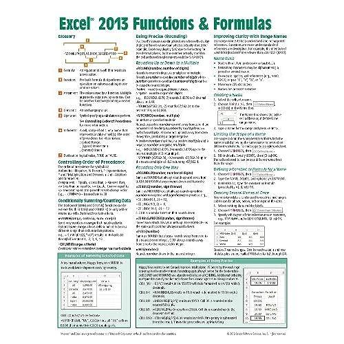 Excel Cheat Sheet: Amazon.com