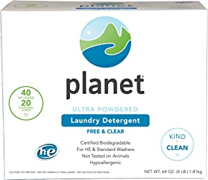 Planet Ultra Powdered He Laundry Detergent, Unscented, 64 Oz (Pack of 4)
