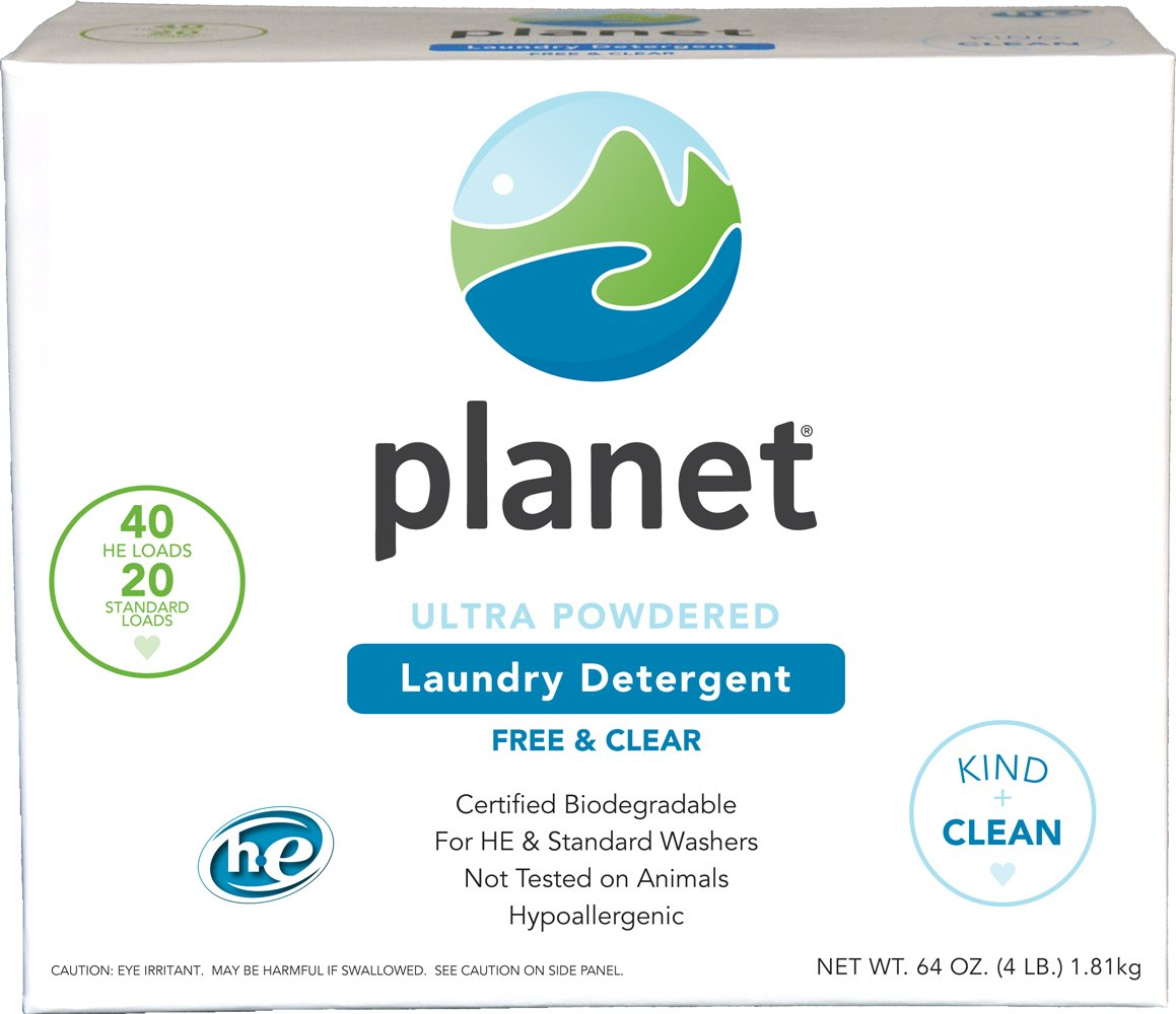Planet Ultra Powdered He Laundry Detergent, Unscented, 64 Oz (Pack of 4) by Planet
