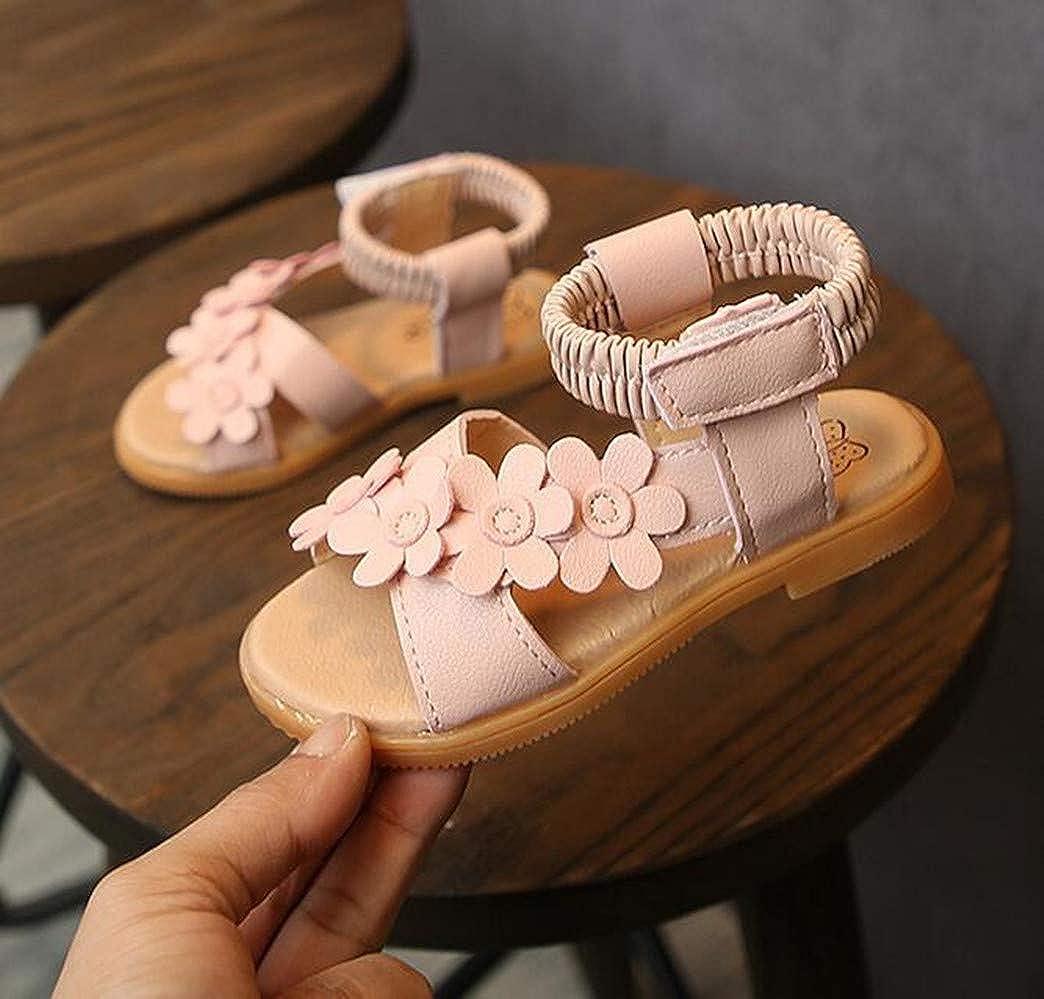 LFHT Toddler Girls Flower Open Toe Strap Sandals Summer Beach Flat Princess Shoes Toddler//Little Kid