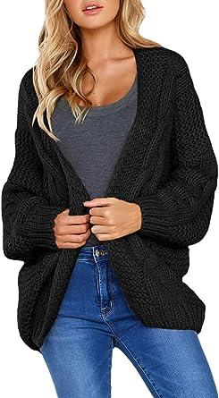 Levas Open Neckline Long Chunky Sweater Cardigan Women Plus Size(S-XXL)