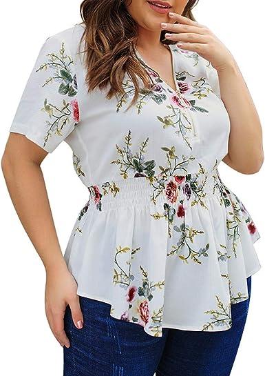 Proumy Camiseta de Mujer Floral Blusa Estampado Colores Camisa con Goma Elástica a la Cintura Vestido de Talla Grande con Cuello V Top con Cremallera: Amazon.es: Ropa y accesorios