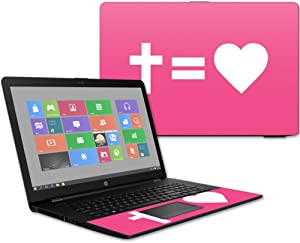 """MightySkins Skin Compatible with HP 17t Laptop 17.3"""" (2017) - Cross Equals Love Pink 