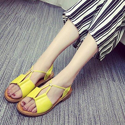 Hunpta Mode Damen Schuhe Böhmen flache Schuhe Sandalen Damenschuhe Gelb