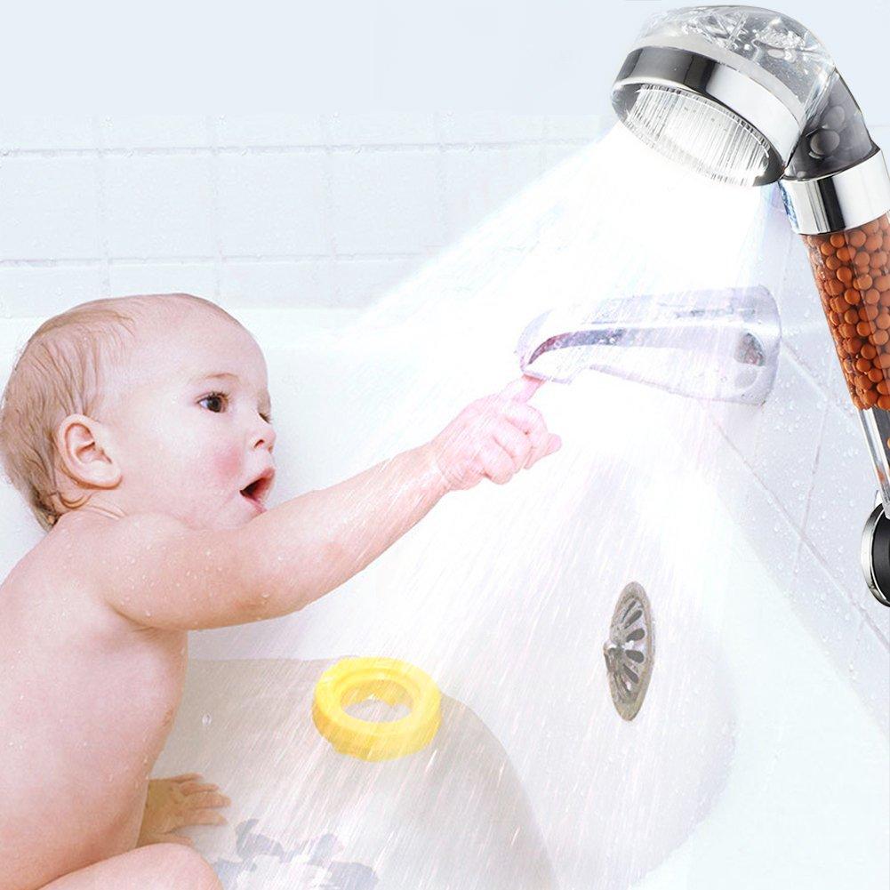 Ducha Led Temperatura 3 Colores Ahorro de Agua Cabezal de Ducha Cnasa Ducha Ionica Mango Ducha Led con 150cm Manguera