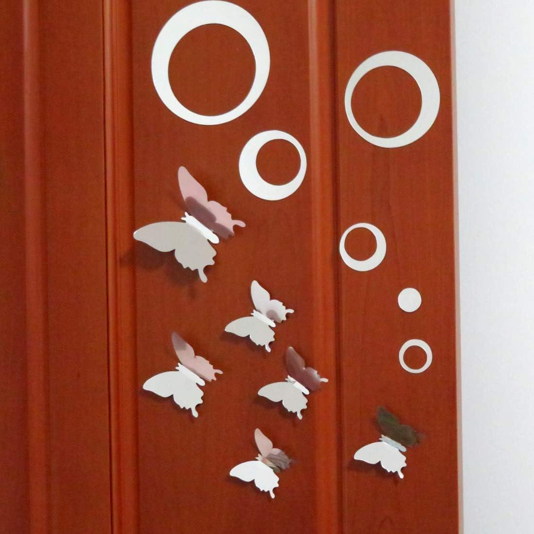 CKANDAY 48 Pezzi Cerchio Specchio Adesivo da parete fai da te Decor con combinazione rimovibile 3D Adesivi murali a farfalla vuoti Decalcomanie per la decorazione della stanza di casa darte