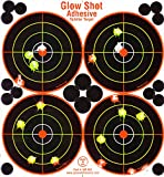 4 inch target - 25 and 75 Pack - 4 Bullseye - Reactive Splatter Targets - Tagboard and Adhesive Versions- GlowShot - Multi Color - Gun and Rifle Targets (Adhesive Multi-Color 75 Pack)