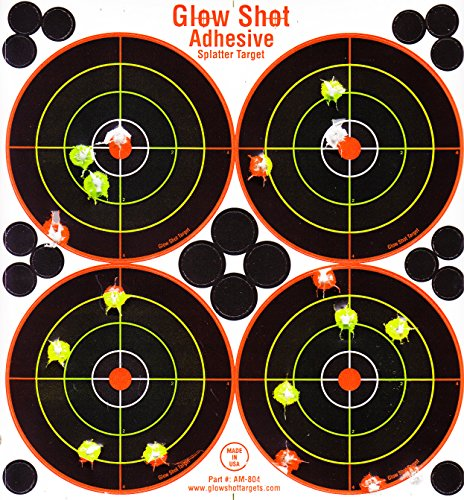 25 and 75 Pack - 4 Bullseye - Reactive Splatter Targets - Tagboard and Adhesive Versions- GlowShot - Multi Color - Gun and Rifle Targets (Adhesive Multi-Color 75 Pack)