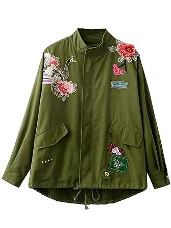 Minetom Coat Jacket Para Mujer Clásico Bombardero Chaqueta Moda Bordado Flores Pájaros Verde Militar Estilo De La Calle
