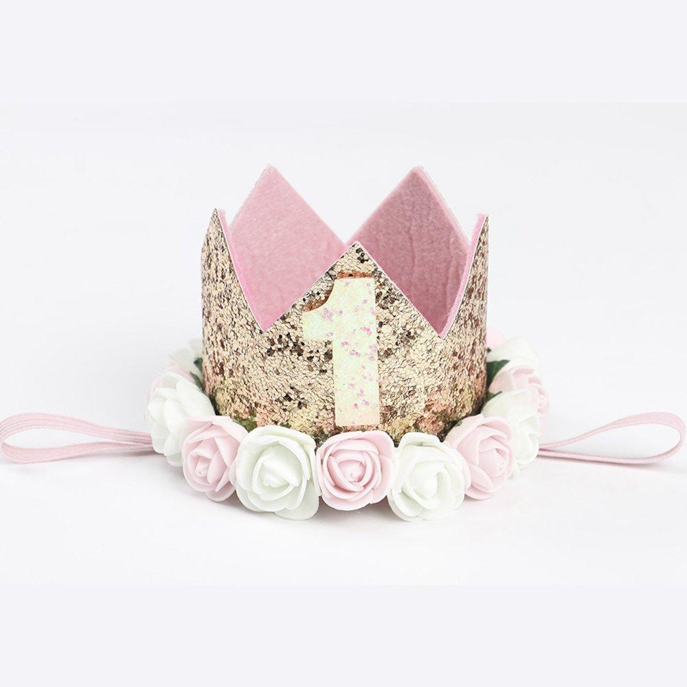 Baby Birthday Princess Gold Crown Headband Pink And White Flower