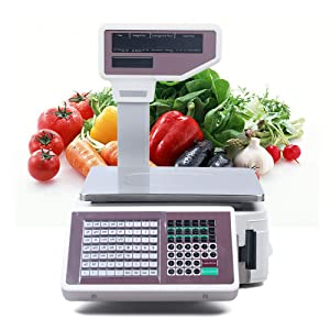 Commercial Digital Price Computing Scale with Thermal Label Printer for Supermarket Double-Sided Display Price Scale for Food