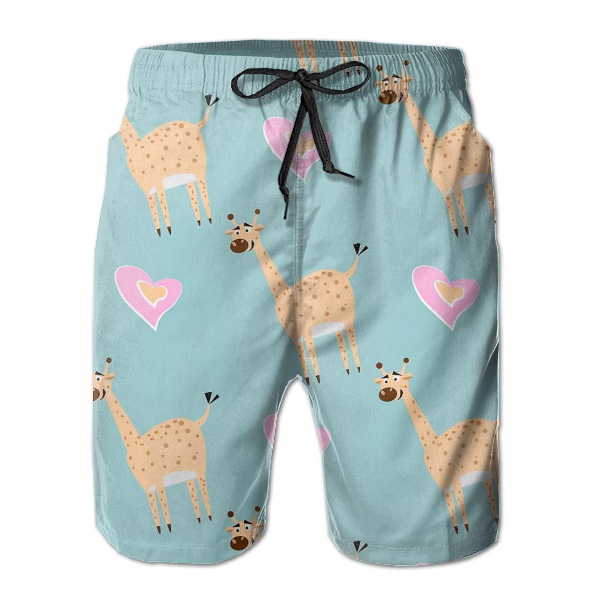 SARA NELL Mens Swim Trunks Pattern with Cute Giraffe and Heart Surfing Beach Board Shorts Swimwear