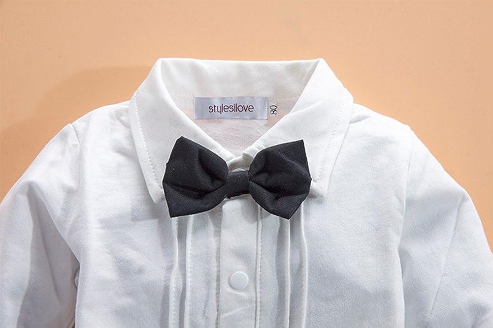 616bbe3016f2 Amazon.com: stylesilove Newborn Infant Baby Boys Tuxedo Bow Tie Jumpsuit  Romper and Black Jacket 2-pc Formal Wear Suit: Clothing