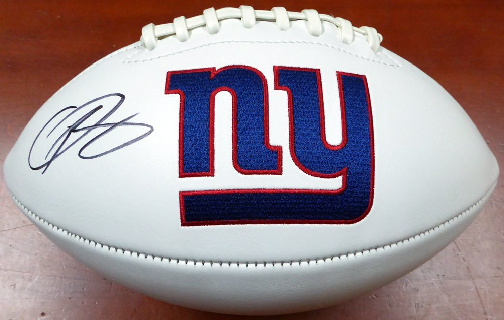 ODELL BECKHAM JR. AUTOGRAPHED NEW YORK GIANTS WHITE LOGO FOOTBALL BECKETT BAS STOCK #122043