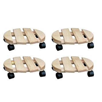 SIDCO - Lote de 4 bases con ruedas para macetas (madera, 30 cm), diseño redondo: Amazon.es: Jardín