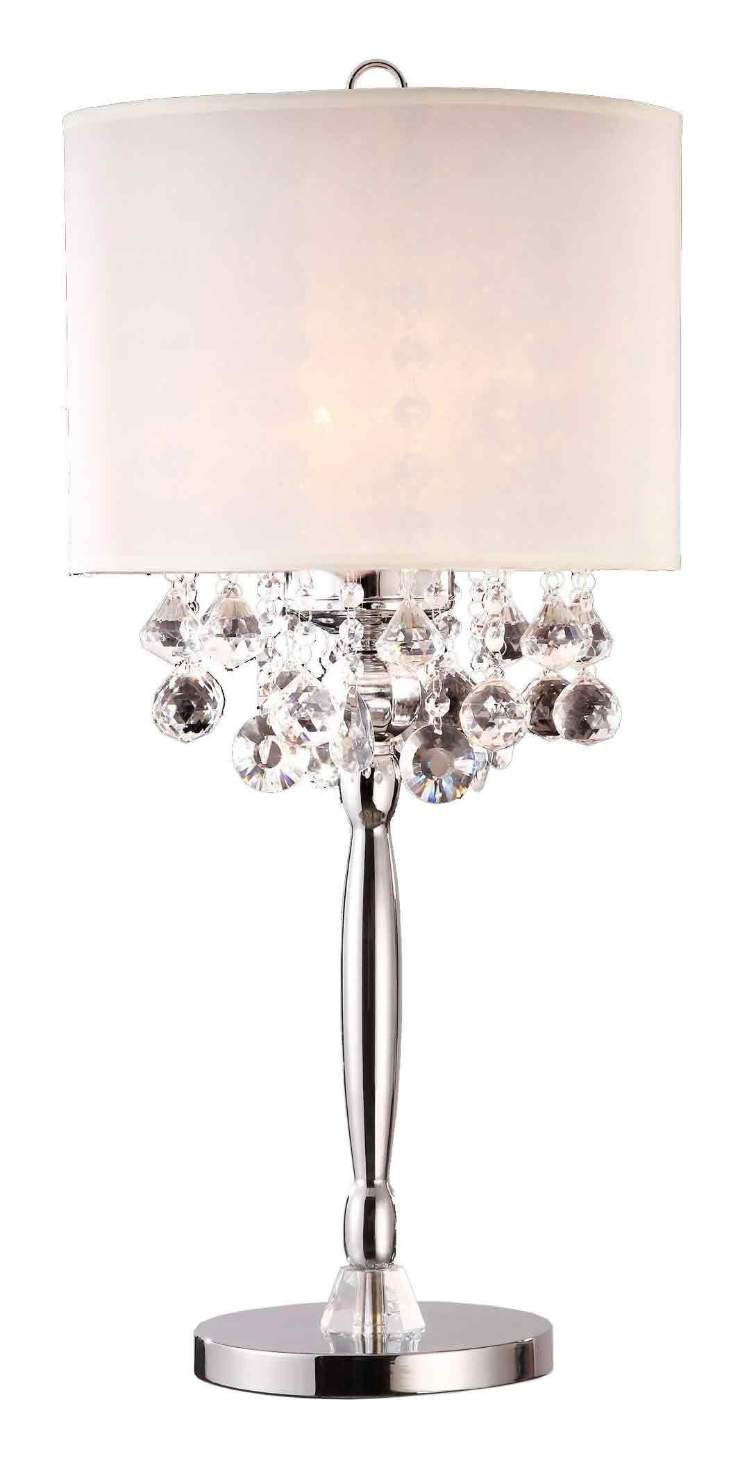 Ore International K-5110T 29.5-Inch Crystal Table Lamp, Silver