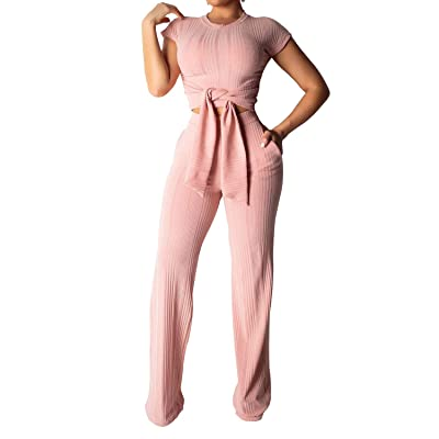 Adogirl Womens 2 Piece Outfits Ribbed Cap Sleeve Crop Top + Wide Leg Long Pants Set Jumpsuit with Pockets: Clothing