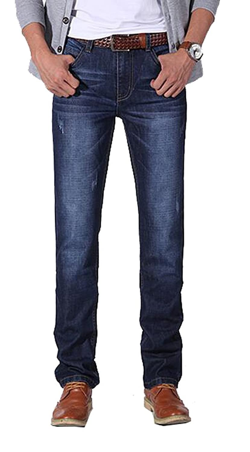 TiYa Mens Premium Denim Pants Washed Jeans