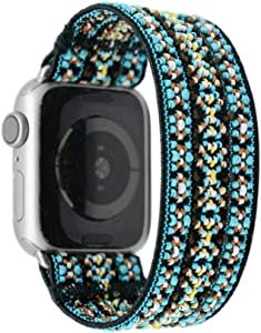 Tefeca Orchid Embroidery Pattern Elastic Compatible/Replacement Band for Apple Watch 42mm/44mm (Silver Adapter, M fits Wrist Size : 6.5-7.0 inch)