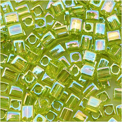 - Miyuki 4mm Glass Cube Beads Transparent Lime Green AB #258 10 Grams